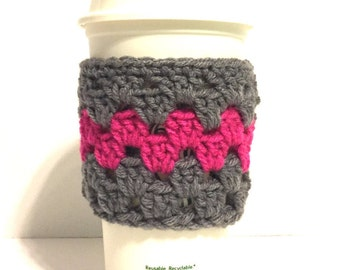 coffee cup cozy, coffee cup sleeve, crocheted cup cozy, crocheted cup sleeve, reusable cup cozy, reusable cup sleeve, chevron cup cozy