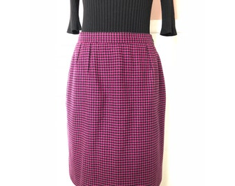 80s Valentino Pencil Skirt - Miss V - Pink and Black Houndstooth