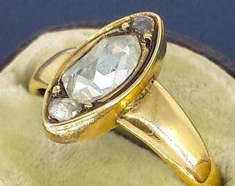 Victorian Rose Cut Diamond Ring 18k Gold