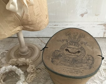 Antique French Hat Box with Beaver Top Hat