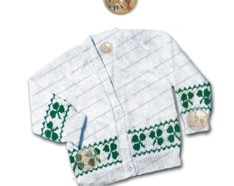 Shamrock Clover Cardigan 6 months to 3 years - Vintage Kintting Pattern - Instant Download PDF - PrettyPatternsPlease
