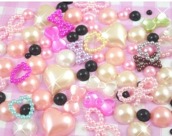 10% OFF SALE 10g Mixed Colour Flatback Pearl Mix Set Decoden Embellishments Craft Supplies