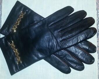 Guantes de cuero vintage, cachemira guarnición, Italia, guantes de cuero vintage, guantes vintage, talla 8 guantes, guantes de cuero