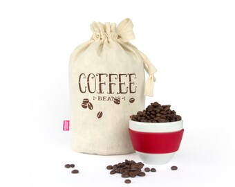 SALE!! COFFEE BEANS: Handmade reusable eco storage bag. Hemp Organic Cotton cloth tote bag. Kitchen storage.