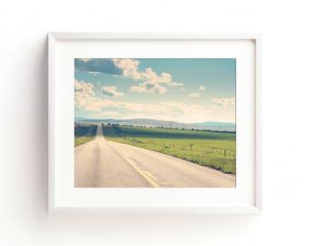 "large landscape wall art, large landscape art prints, large wall art, large art, large landscape photography, landscape prints - ""Open Road"""