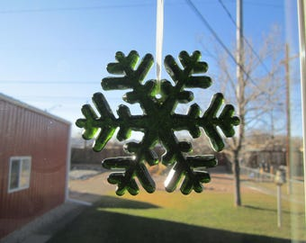 Snowflake, fused glass, green, ornament, decoration, sun catcher, holidays, Christmas, home decor (#96)