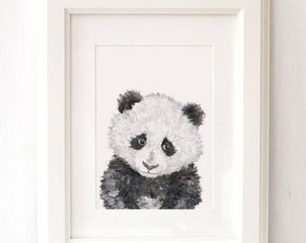 Watercolor panda print baby panda painting panda wall art watercolour panda illustration panda gift panda poster panda bear painting decor