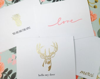 12 Greeting Card Variety Pack (3 of each) // Handmade Greeting Cards // Gold Embossed Cards // Thank You Cards // Love Cards