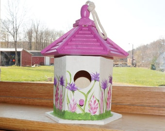 Beautiful Hand Painted Hanging Bird House