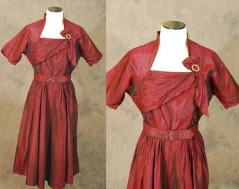 vintage 40s Cocktail Dress - 1940s Oxblood Red Sharkskin Dress - Origami Taffeta Party Dress Sz S
