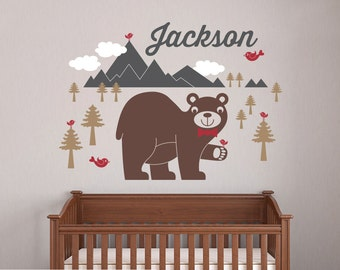 Happy Bear Wall Decal Baby Animal Nursery Wilderness Mountain Theme Boy Girl Name Personalized Kids Woodland Wall Mural Room Decor & Cute Baby Nursery Wall Decals Kids Wall Decals by graphicspaces