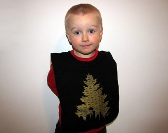 Long Live Grunge--Baby/Toddler Bib, Upcycled, Recycled T-Shirt, Reversible, Large, Black, Gold, Flannel, Plaid, Seattle, Space Needle