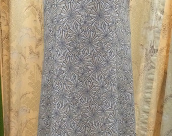 1970's Cream, Gold and Silver Print Maxi Dress, Size Large