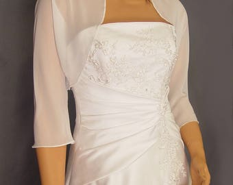 Chiffon bolero jacket 3/4 sleeve shrug wedding wrap bridal cover up CBA201 AVAILABLE IN white and 6 other colors. Small - Plus size!