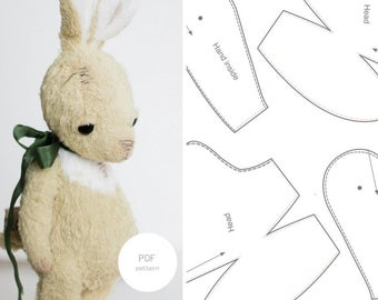PDF Sewing Pattern & Tutorial Easter Bunny 6 Inches Mohair Rabbit Pattern Stuffed Animal Pattern Artist Bear Pattern For Women Soft Toys