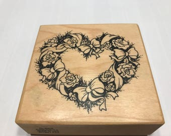 Large Flower Heart Rubber stamp, 70 mm (BB4/2)