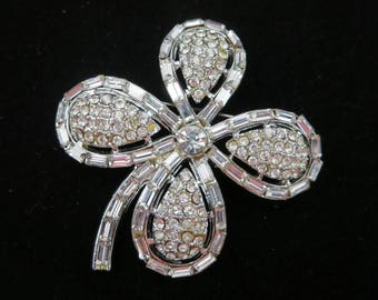 Rhinestone Clover Brooch - Four Leaf Lucky Shamrock Costume Jewelry