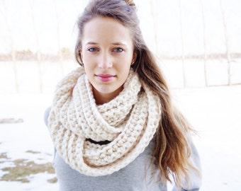Chunky Crochet Infinity Scarf | Ribbed Crochet scarf