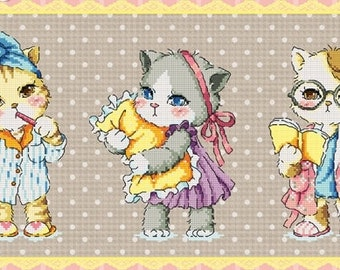 Cute kitten cross stitch pattern by sodastitch, good night kitty, cat pattern, children room decor, cat lovers, Cross stitch pattern