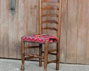 19th Century English Ladderback Suzani Chair, Suzani Chair, Ladies Chair, Ladderback Chair, Antique Chair, Wood Chair, Desk Chair, Bohochair