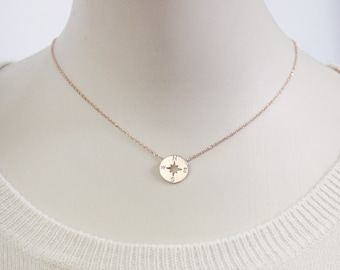 Rose Gold Compass Necklace, sterling silver compass necklace,disk necklace, compass jewelry, nautical necklace, sterling silver necklace