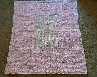 Handmade Textured Crochet Afghan, Baby Blanket