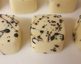 Hand painted white chocolate with a baileys truffle filling, baileys chocolates, baileys, chocolate, white  chocolate