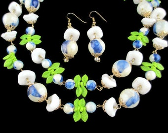 Vintage  White Lucite  Hong Kong Necklace & Pierced  Earring Set