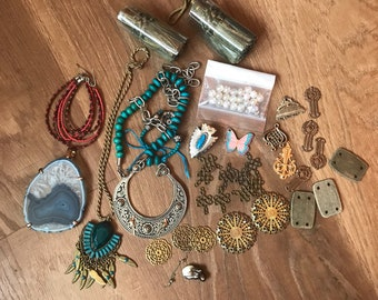 Boho Jewelry Making Supplies- Vintage Findings- Filgrees- Charms- Large Pendants- Destash Lot- Vintage Tassels- Destash Jewelry