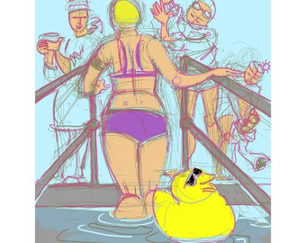 greetings card: swimming in cold water - 'The Duck Says...'. Clevedon Swimmers, Open Water, funny swimmers
