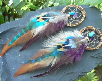 feather dreamcatcher earrings turquoise and amethyst  in tribal inspired  tribal infusion boho belly dancer and hipster style