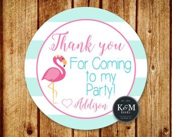 Flamingo Birthday Party Favor Tag / Flamingo Party Thank You Tag / Digital Printable File