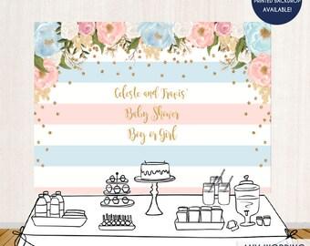 Gender Reveal Baby Shower Floral Blue or Pink Backdrop , Boy or Girl Baby Shower, Garden Party, Printed or Printable File BBS0027
