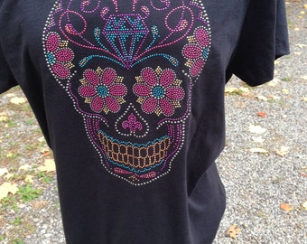 Rhinestud Sugar Skull Ladies T-Shirt, Day of the Dead - DISCONTINUED