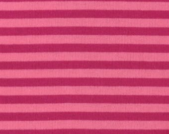 Japanese Cotton Jersey fabric - Kiyohara - reversible pink and purple stripes - by 50 cm