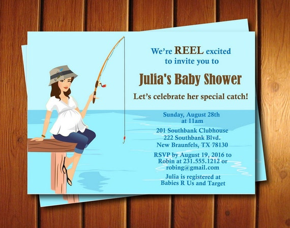 Fishing Baby Shower Invitation Gender Neutral Baby Shower