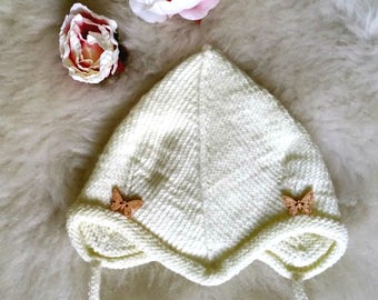 Hand knitted Cotton Bonnet, White Baby Girl Bonnet,  Newborn Baby Bonnet, Hand Knit Baby Cap, Baby Girl, baby gift, cotton cap