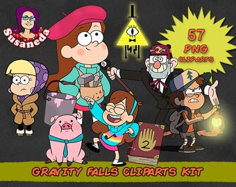 GRAVITY FALLS cliparts, 46 Cliparts Pack, Gravity Falls pngs, transparent background, instant download