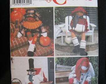 """Porch Sitters, Porch Decor, Simplicity 9443, scarecrow, snowman, rabbit and girl, 38"""" heights, soft, poseable bodies, decorations for porch"""