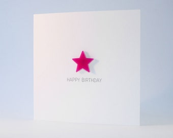 Happy Birthday Card with Pink detachable magnet keepsake