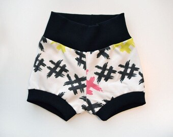 Hashtags Harem or Mini Shorts ORGANIC Cotton Infant/Toddler with Waistband and Leg Cuffs in black or gray