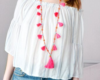 Several colors-Summer necklace pompon, natural stone