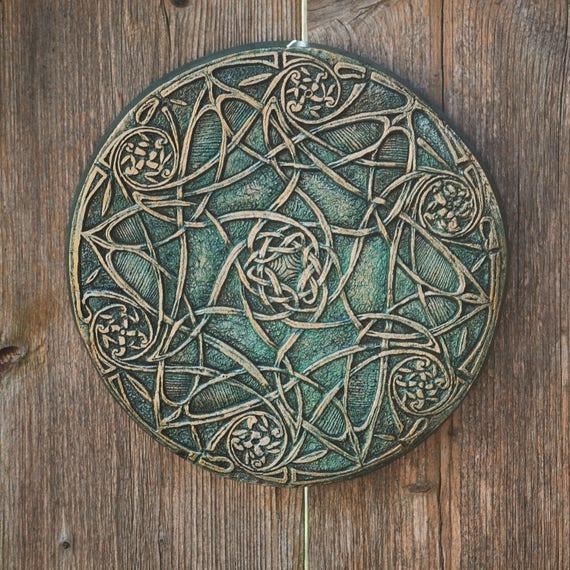 Garden Gift For Her Celtic Knot Art Wall Plaque Irish Green