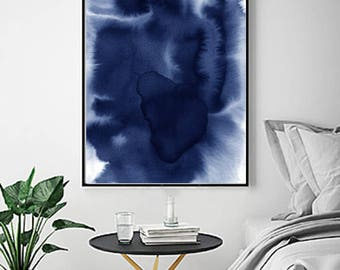 Blue Abstract Watercolor Print Indigo Blue Navy Wall Art Splatter Minimalist Art Painting Poster Nordic Scandinavian Minimal Large Abstract