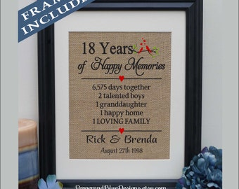 18 year wedding anniversary gifts by year