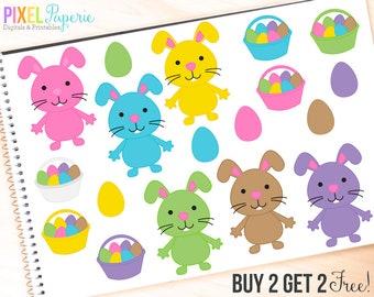 easter clipart digital clip art bunny bunnies eggs basket - Easter Bunnies and Eggs Digital Clipart - BUY 2 GET 2 FREE