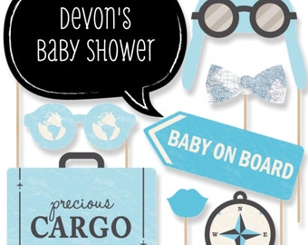 20 Baby Shower Photo Booth Props - Precious Cargo Blue Kit with Mustache, Hat, Bow Tie, Glasses and Custom Talk Bubble in Black and White