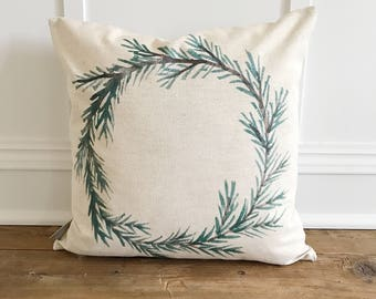 Evergreen Wreath Pillow Cover