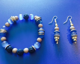 Cats Eye Aromatherapy Jewelry Essential Oil Diffuser Jewelry Set
