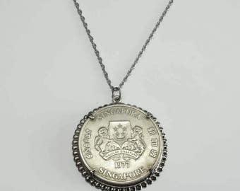1977 Singapore Ten Dollar Silver Coin Mounted Bezel Set Charm Pendant  Boat Ship